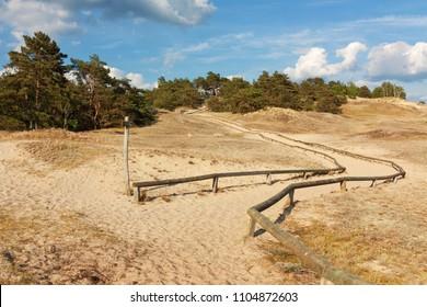 Hiking trail through inland dunes near Klein Schmölen in Mecklenburg-West Pomerania, Germany