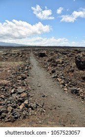 Hiking trail through lava field on the Big Island Hawaii