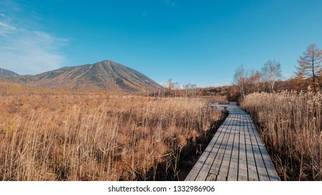 A hiking trail wooden footpath of Senjogahara Marshland with hills in the background during late autumn in Nikko, Japan.