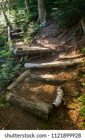 Hiking trail with wooden stairs