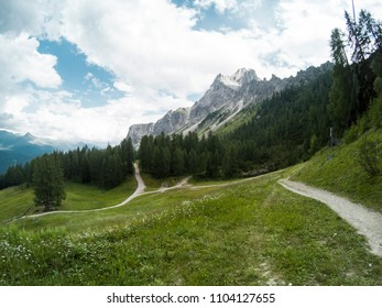 Hiking trails with Dolomites moutains and a gree foreston background. South Tyrol, Italy, Alp. Captured on action camera.