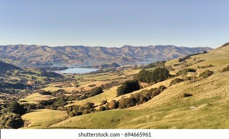 Hiking trails hills, Akaroa, New Zealand