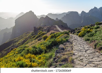 Hiking trails on the mountains in Madeira
