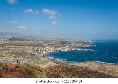 Hiking trails from The Red Mountain to El Medano bay. Tenerife island, Spain.