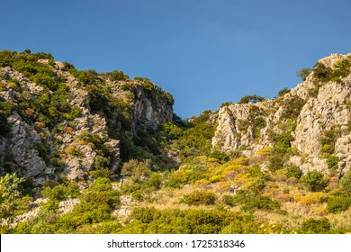 Hiking uphill on Taygetus Mountain, the highest in Peloponnese, Greece