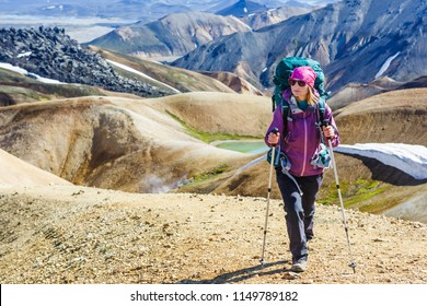 hiking woman on the trail in Landmannalaugar, Iceland