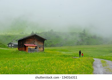 Hiking to a wooden chalet in morning mist