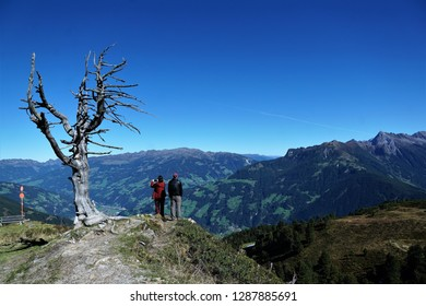 Hiking in Zillertal in Austria in Europe im summer time