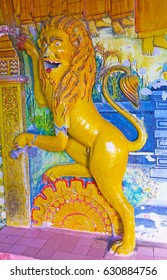 HIKKADUWA, SRI LANKA - DECEMBER 4, 2016: The colorful relief of lion in the Image House of Kumarakanda Rajamaha Vihara Buddhist Temple, on December 4 in Hikkaduwa.