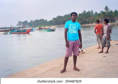 HIKKADUWA, SRI LANKA - FEB 2, 2012: Portrait of a poor Sri Lankan man. About 80 percent of Sri Lanka 's population lives in its rural areas.