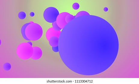 A hilarious 3d illustration of flying big and small balls of violet, purple and pink colors rushing hilariously in light rosy and purple background. They generate the mood of fun