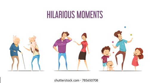 Hilarious funny life moments 3 retro cartoon icons set with couples and young family isolated  illustration