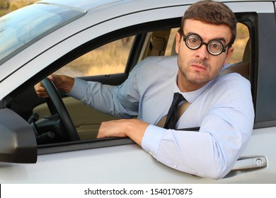 Hilarious male driver feeling lost