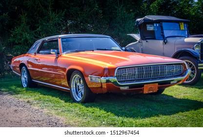 Hilden, Nova Scotia, Canada - September 21, 2019 : 1968 Ford Thunderbird at Scotia Pine Show & Shine at Scotia Pine Campground.