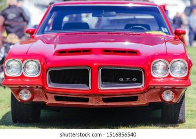 Hilden, Nova Scotia, Canada - September 21, 2019 : 1972 Pontiac GTO, Scotia Pine Show & Shine at Scotia Pine Campground.