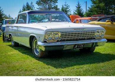 Hilden, Nova Scotia, Canada - September 21, 2019 : 1962 Chevrolet Impala 4 door hard top at Scotia Pine Show & Shine, Scotia Pine Campground.