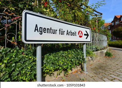 Hildesheim, Lower Saxony / Germany - September 28, 2014: Logo of a Job Center, the state owned employment agency in Hildesheim, Germany