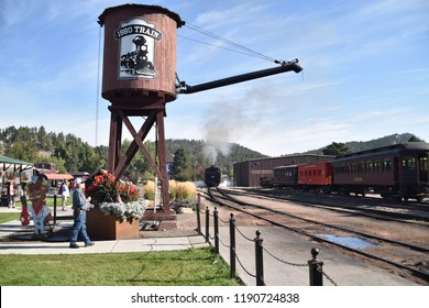 Hill City and Keystone, S. D. U.S.A. September 13, 2018.  Black Hills Central Railroad Baldwin #110 is a diesel-fired steam powered locomotive and steam whistle