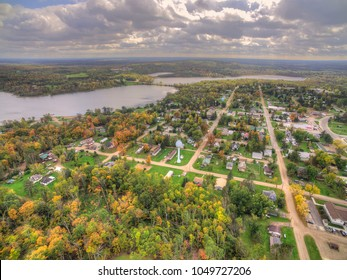 Hill City is a small Midwestern Town in Northern Minnesota. This is an aerial view taken in autumn.