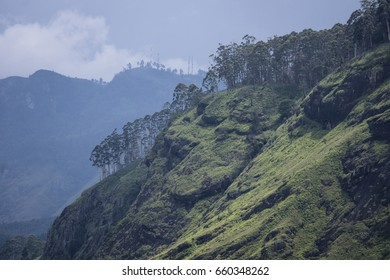 Hill covered with grass, rocks and trees during bad weather, view from Little Adams Peak to Ella Rock, Ella, Sri Lanka