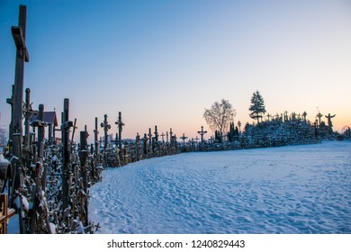 The Hill of Crosses is the most iconic hill in Lithuania at sunrise at Christmas time. About this sound Kryžių kalnas is a site of pilgrimage about 12 km north of the city of Šiauliai.