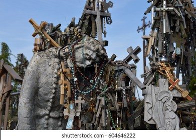Hill of  Crosses, Siauliai, Lithuania, Wooden statue of Jesus Chris Hill of Crosses is an unique monument of history and religious folk art and most important Lithuanian Catholic pilgrimage site