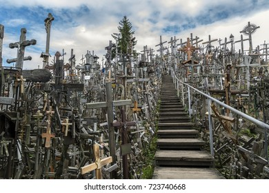Hill of Crosses - site of religious pilgrimage at Siauliai, Lithuania. Thousands of crosses, crucifixes, statues of the Virgin Mary and rosaries have been placed here by Roman Catholic pilgrims.