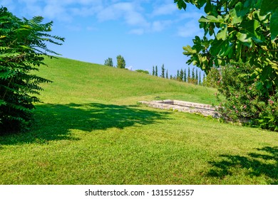 Hill and entrance to Royal Tombs of Aigai. Vergina. Central Macedonia, Greece