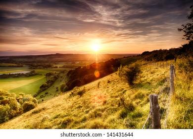 Engels Landschap Zonsondergang Images Stock Photos