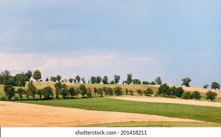 hill land with trees in a rural landscape in Austria on a sunny day