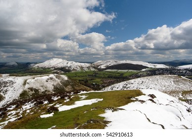 Hill of the Long Mynd, mountain view on the Carding Mill Valley and Caer Caradoc, peaks under the snow, spring in the Shropshire Hills, welsh nature, Church Stretton, Powys Wales UK 4/2016