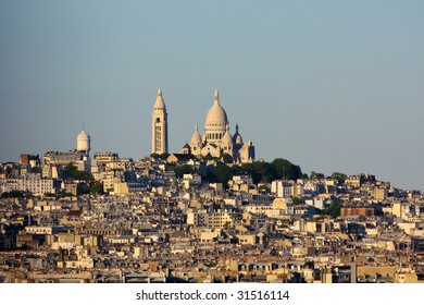 the hill of Montmartre in Paris, France with the cathedral of Sacre Coer