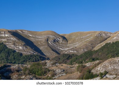 Hill with a natural pattern, on the road Niksic - Zabljak. Montenegr