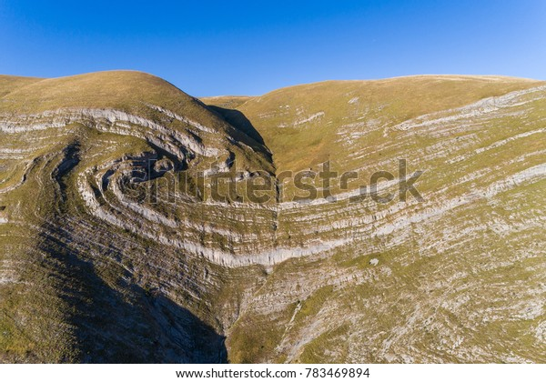 Hill with a natural pattern, on the road Niksic - Zabljak. Montenegro.