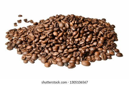 A hill of roasted coffee beans on a white isolated background. Close distance.