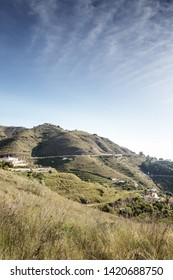 hill side view in almunecar spain of houses and roads