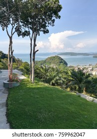 Hill side view overlook Ao Nang Bay area in Krabi, Thailand.