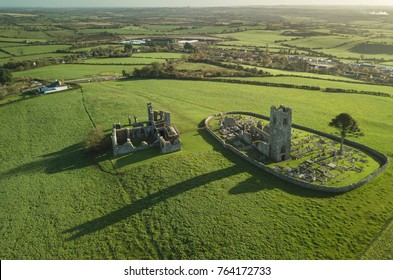 Hill of Slane aerial view. Ireland, Co. Meath. October 2017