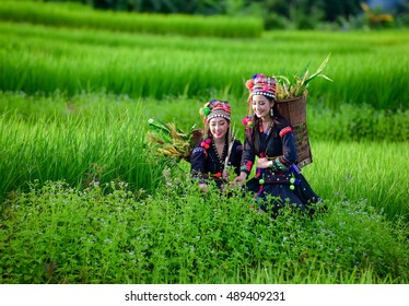 Hill tribes,Tribal girl living with green field.
