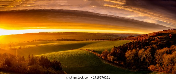 Hill valley sunrise panoramic landscape. Sunrise valley panorama. Sunrise hill valley panorama. Panorama of sunrise in hill valley - Shutterstock ID 1919276261