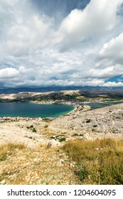 Hill view of Town of Pag, Pag island, Croatia