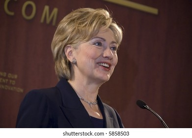 Hillary Clinton giving a speech on science and innovation
