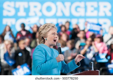 Hillary Clinton speaks at St. Anselm College in Manchester, New Hampshire, on October 24, 2016.