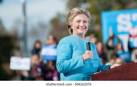 Hillary Clinton speaks at St. Anselm College in Manchester, N.H., on Oct. 24, 2016.