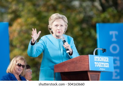 Hillary Clinton speaks at St. Anselm College in Manchester, N.H., on October 24, 2016.