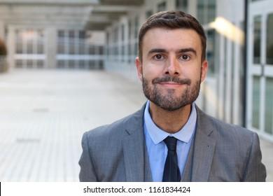Hillbilly businessman with a weird expression