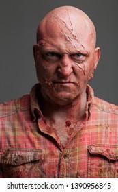 Hillbilly Slasher Horror Villain, Bald Caucasian Male
