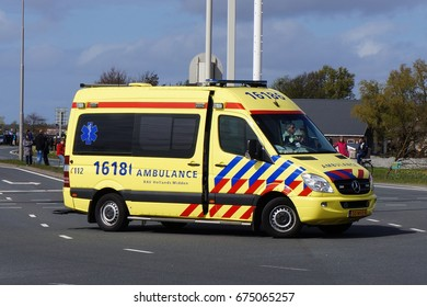 Hillegom, Netherlands. April 2017. A Dutch ambulance that responded to an emergency.