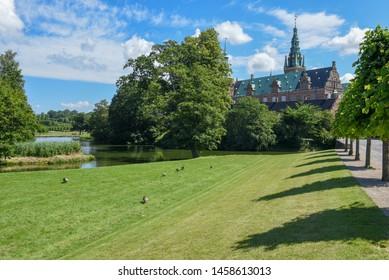 Hillerod, Denmark - 28 June 2019: the castle of Frederiksborg at Hillerod on Denmark