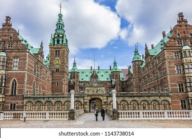 HILLEROD, DENMARK - JUNE 21, 2017: Frederiksborg Castle (Frederiksborg Slot, XVII century) - palace in Hillerod, Denmark. It was built as royal residence for King Christian IV of Denmark-Norway.